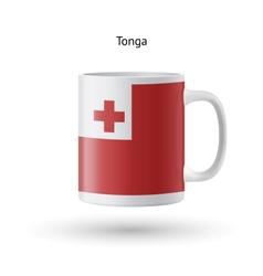 Tonga flag souvenir mug on white background vector