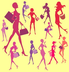 Women shopping digital clip art vector