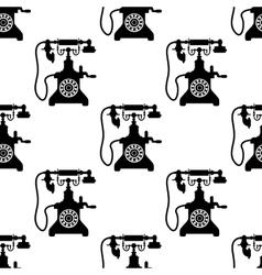Vintage telephone seamless pattern vector image