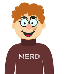 Cartoon nerd in glasses and pullover of tee vector