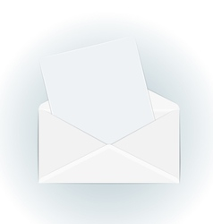 White open envelope with paper card - vector