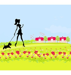 Pretty girl silhouette walking the dog on rural vector