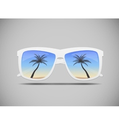 Sunglasses with a palm tree vector