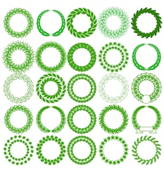 Set green laurel wreath on the white background vector image