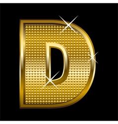 Golden font type letter d vector