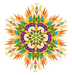 Hand-drawn colored mandala zentangl floral element vector