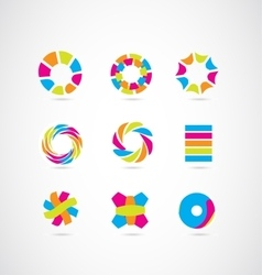 Logo icon elements design set colors vector image