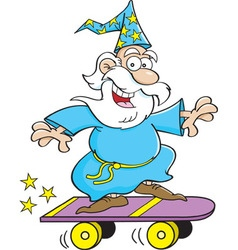 Cartoon wizard riding a skate board vector