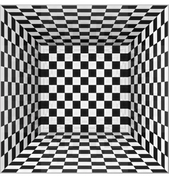 Black and white chessboard walls room background vector