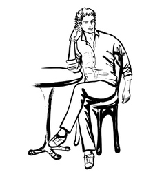 Man sitting in cafe vector