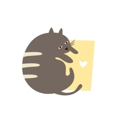 Cute cat with a sign for text vector