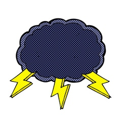 Comic cartoon cloud and lightning bolt symbol vector