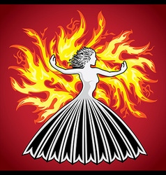 Woman figure silhouette fire flames background vector