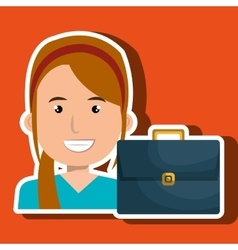 Business person with portfolio isolated icon vector