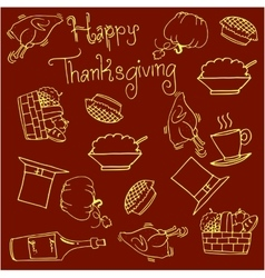 Vegetables and food thanksgiving doodles vector