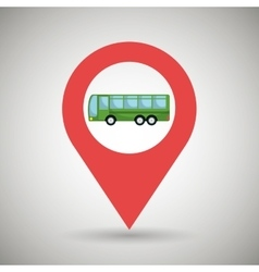 Red signal of green bus isolated icon design vector