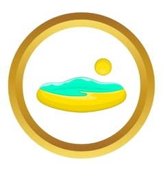 Beach and sun icon vector image vector image