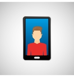 Black smartphone and avatar boy vector