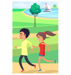 boy and girl jog at park along path near pond vector image