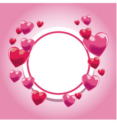 Card invitation pink hearts template vector