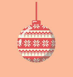 Christmas ball with pattern vector