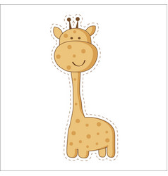 Cute cartoon trendy design little giraffe with vector