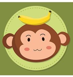 Cute Monkey Head Cartoon vector image vector image