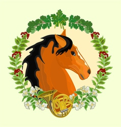 Dark red horse head of stallion leaves vector image vector image