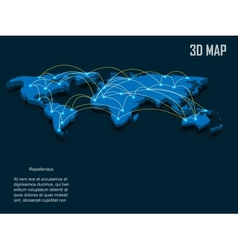 Elegant blue 3d world map vector