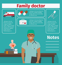 Family doctor and medical equipment icons vector