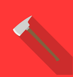 Fire axe icon flat single silhouette fire vector