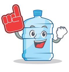 Foam finger gallon character cartoon style vector