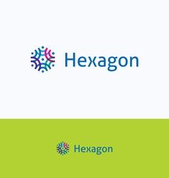 Hexagon overprint ornament logo vector