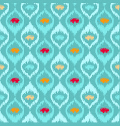 Ikat fabric style rug texture pattern vector