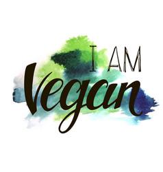 Inscription i am vegan vector