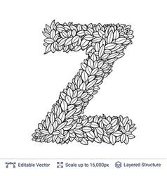 Letter z symbol of white leaves vector