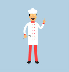 Male chef cook character in uniform standing with vector