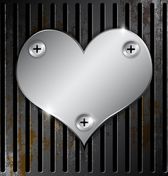 Metallic heart with grille rusty vector
