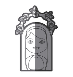 Monochrome silhouette figure virgin maria cartoon vector
