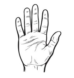 Painted hand with an open palm vector