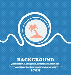 Palm tree travel trip sign icon blue and white vector
