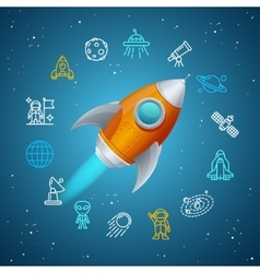 Rovet and Space Icon Concept vector image vector image