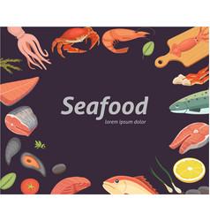 seafood set flat fresh fish vector image vector image