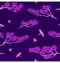 Seamless pattern of sakura tree vector image vector image