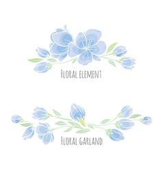 Set of design elements blue sakura blossom vector