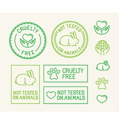 set of ecology badges and stamps for packaging vector image