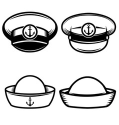 Set of the sailors hat design elements for logo vector
