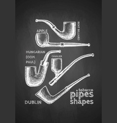 Set of tobacco pipes on chalkboard vector
