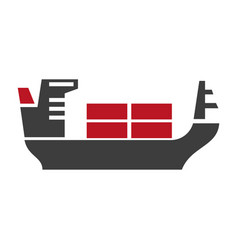 Ship with baggage silhouette logo icon on vector
