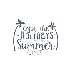 Summer holidays black and white vintage emblem vector